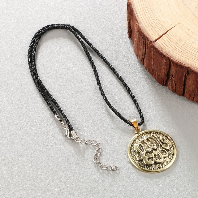 f592fc9686017 US $1.64 49% OFF|Chandler Silver Allah Islamic Muslim Coin Necklace Amulet  Religious Jewelry Accessories Antique Round Woman Male Mens Callars-in ...