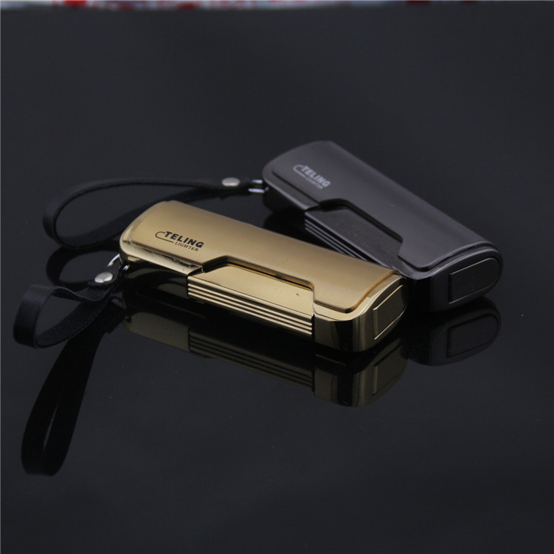 Electroplating lateral leather pendant straight into the lighter,Metal lighter wholesale ,cigarette lighter,High-end men's gift