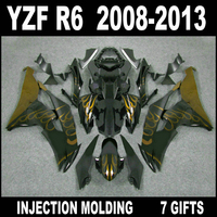7 gifts body kit for YZF R6 2008 2009 2013 fairings YAMAHA R6 08 09 10 11 12 13 gold flames in glossy flat black fairing set