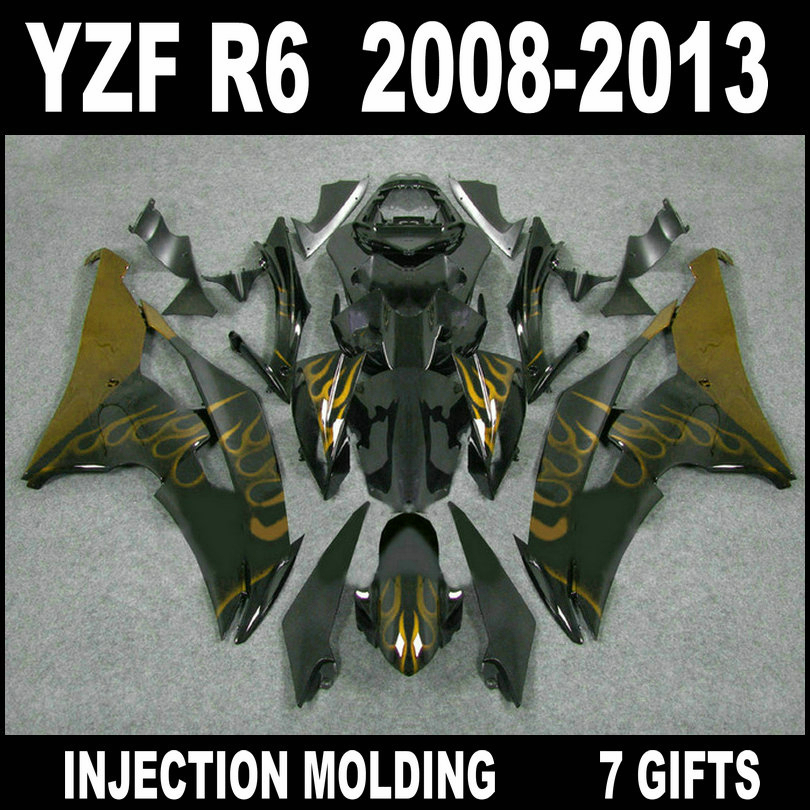 7 gifts body kit for <font><b>YZF</b></font> <font><b>R6</b></font> <font><b>2008</b></font> 2009 - 2013 <font><b>fairings</b></font> YAMAHA <font><b>R6</b></font> 08 09 10 11 12 13 gold flames in glossy flat black <font><b>fairing</b></font> <font><b>set</b></font> image