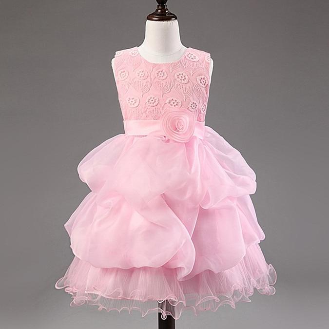 ФОТО Girls princess full dress Pink layered dresses with roses and lace ballgown dresses flowers  vestido de festa vestidos ninas