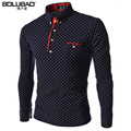 ¡ Venta caliente! 2015 nuevos hombres de polo sólido camisa de calidad marca polka dot slim fit de manga larga casual polo hombres camisa polo masculina