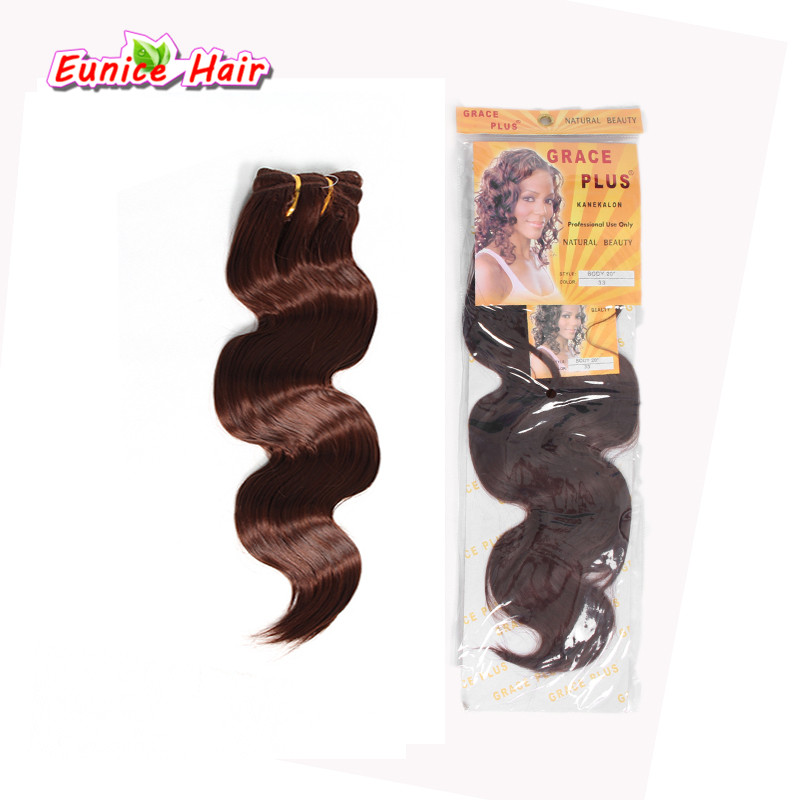 Brown #33 Synthetic body wave hair weft 16-20 Crochet hair Blonde Brazilian Body Wave synthetic weave bundles hair extensions ...