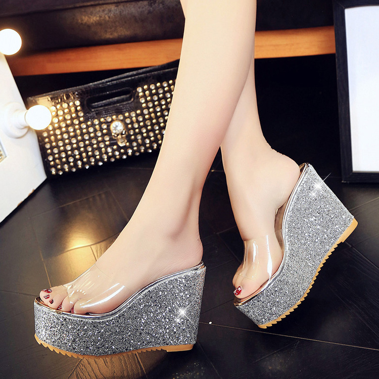 Womens Sequins Open Toe Slippers Casual Wedge Low Heels Shoes Muffin Bling Bling