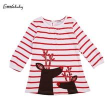 2017 Christmas Girl Dress Baby Girl Striped Dresses Long Sleeve Reindeer Cotton Dresses Kids Dress For Girls Xmas Vestidos 1-7Y