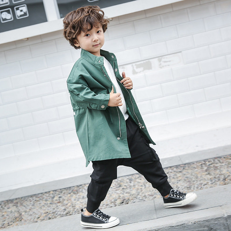 Boys coat spring and autumn 2019 new small and medium-sized boy tide fan boy collar print long   trench   coat