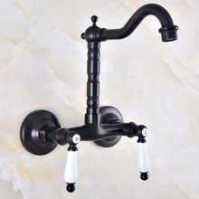 Swivel 360 Bathroom Bathtub Faucet Torneira Wall Mount Oil Rubbed Black Bronze Basin Sink Faucet Mixer Tap Knf836 gappo bathtub faucet bathroom faucet torneira wall mount mixer tap sink brass waterfall dual handle bronze shower faucet ga2242