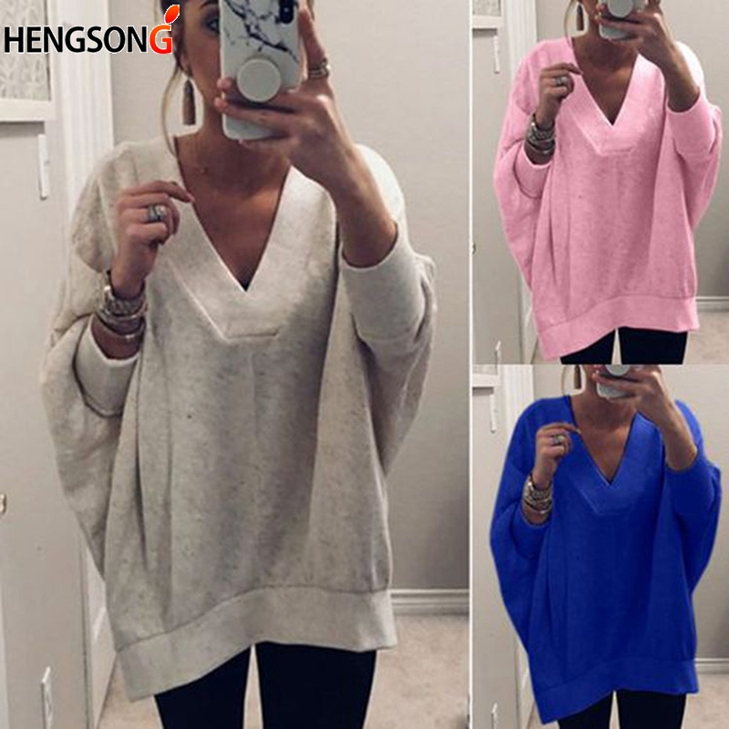 Spring Autumn V-Neck Tops fashion wild hoodies women pullover Casual loose sudadera mujer solid color clothes