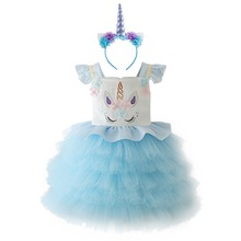 Unicorn Princess Dress with Headband Girls Birthday Clothes Baby Kids Cake Smash Outfit Cute for Photo Shoot