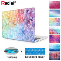 Redlai Geometric Crystal Clear Hard Case Cover for Macbook Pro 13.3 15.4 Retina 13 15 inch Macbook Air 13 2018 Keyboard cover