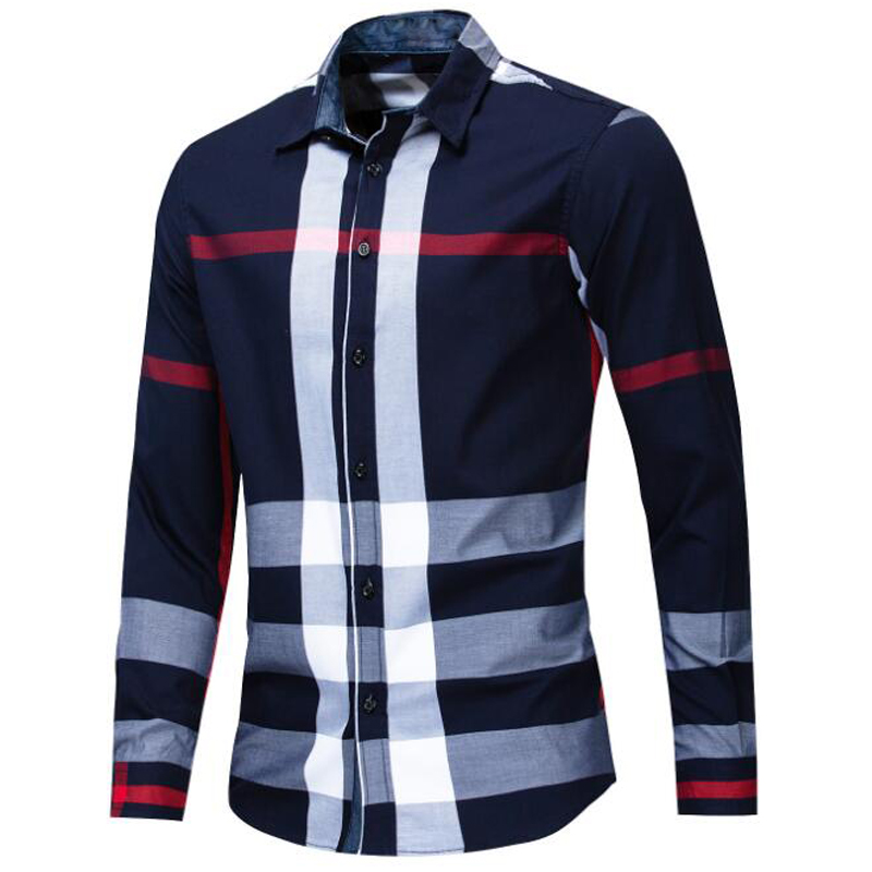 Image 3 - NEW shirt Business casual autumn long sleeve men shirts High quality brand 100% cotton plaid shirt men Plus Size chemise hommeCasual Shirts   -