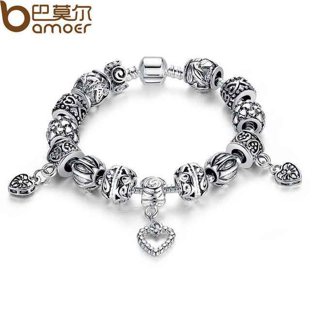 BAMOER Antique Silver Charm Bracelet & Bangle Silver 925 With Heart Pendant for