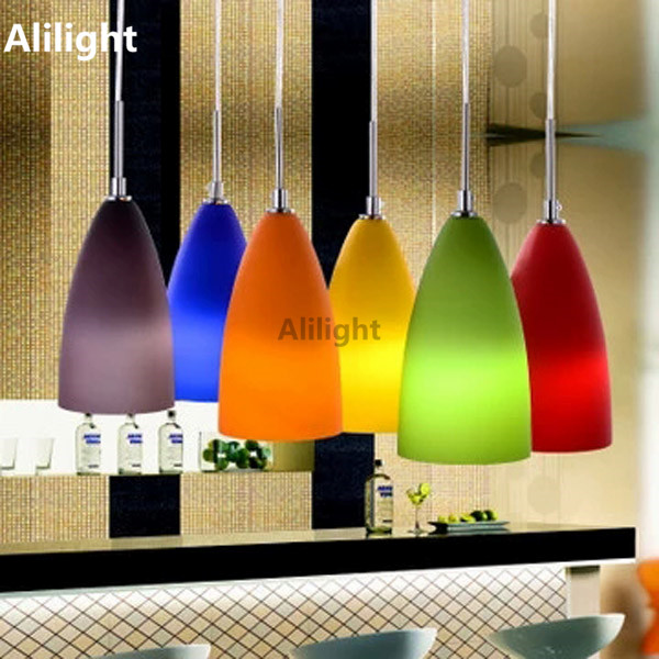 Moderne mode bunte glas pendelleuchten innenbeleuchtung for Bunte lampenschirme aus glas