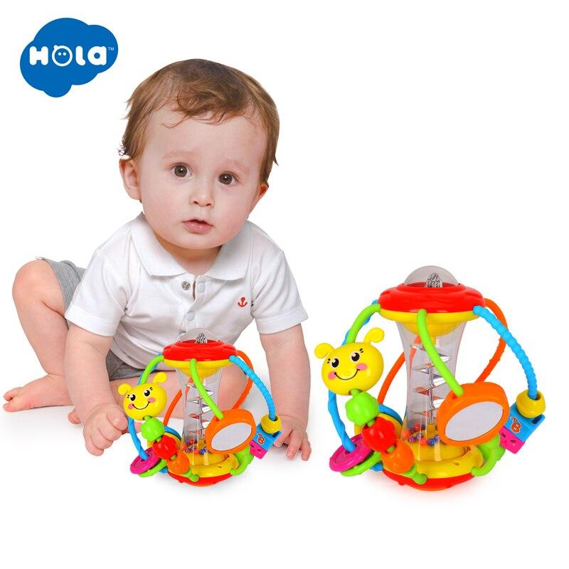 HOLA 929 Baby Spielzeug Baby Rasseln Pädagogisches Spielzeug für Babys Greifen Ball Puzzle Multifunktions Glocke Ball 0-18 Monate