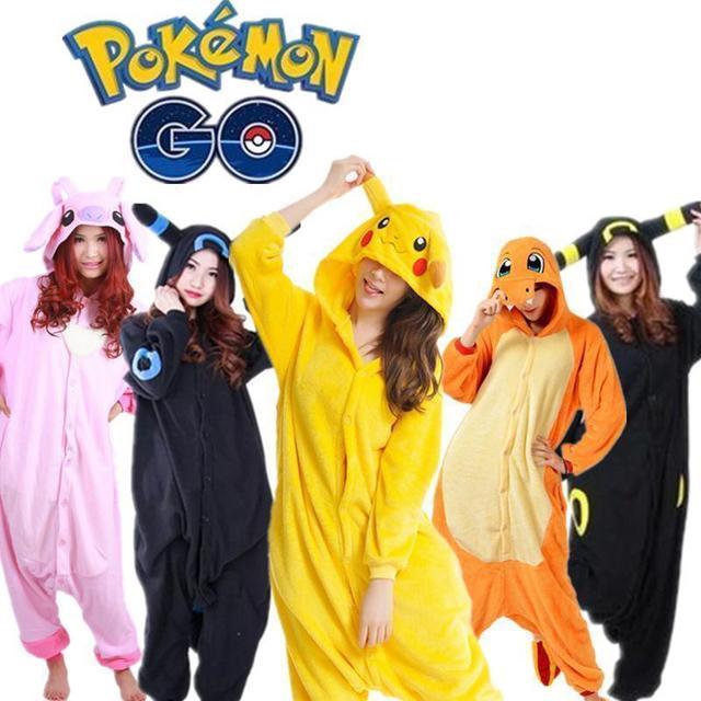 Conjuntos de pijama Pokemon pijamas adultos kigu unisex Cosplay Pikachu  dragón de fuego umbreon pijamas franela e7cef38da8bc
