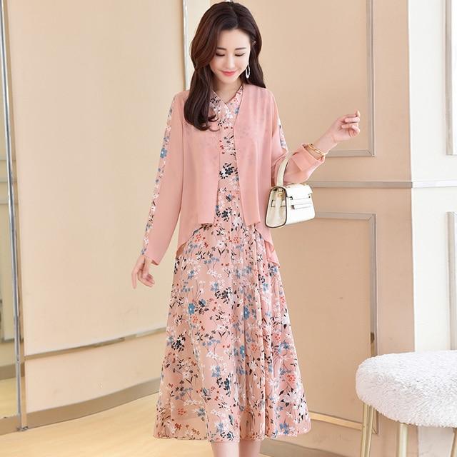 YASUGUOJI nouveau 2019 automne mode flroal robe avec cardigan en mousseline de soie 2 pièces ensemble femmes deux pièces robe femmes élégant costume ensemble