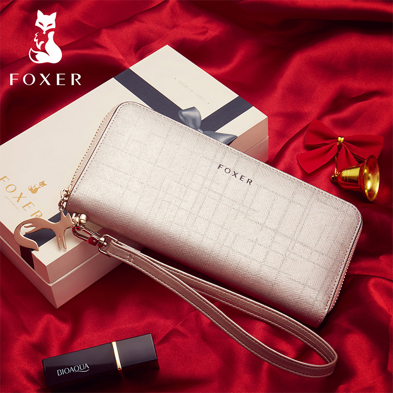 FOXER Marke frauen Leder Brieftaschen mit Wristle Luxus Weibliche Lange Kupplung Brieftasche Dame Karte Halter Geldbörse Handy Tasche