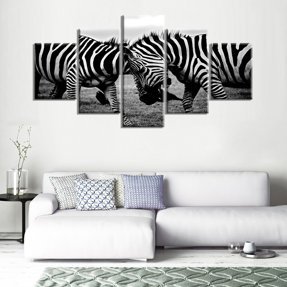 Black and White Gray Zebras African Wildlife Wall Art Modern Canvas ...