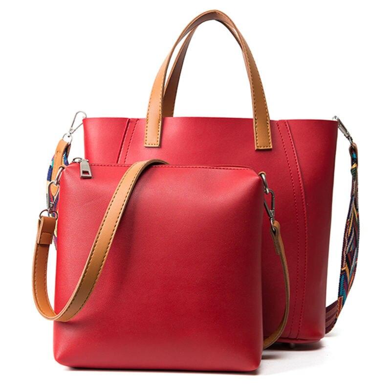 New casual women shoulder bags fashion designer handbag solid composite bag women totes shopping bag wide straps bolsa feminina