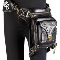 women casual messenger crossbody bags soft PU leather rivets waist bag steampunk motorcycle shoulder bolso mujer fanny pack belt