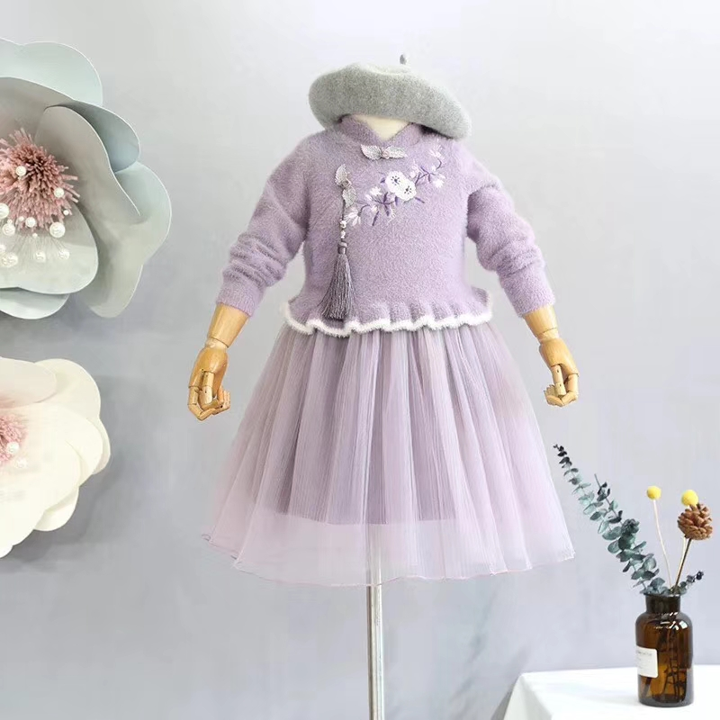 5437 Chinese New Year Princess Embroidery Baby Girls Dresses 2018 New Winter Kids Dresses For Girls Wholesale baby girl clothes