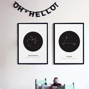Constellation Abstraite Toile De Peinture Noir Blanc Géométrique