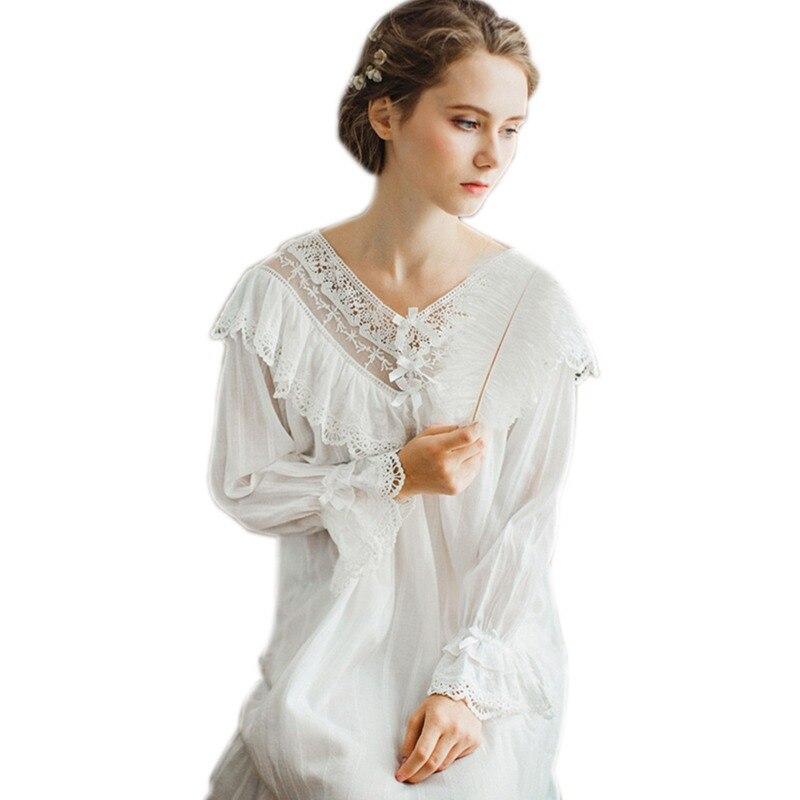 6daeb4401b Women s Vintage Gothic Victorian Night Dress White Cotton Flare Sleeve V  Neck Lace Embellished Ruffle Hem