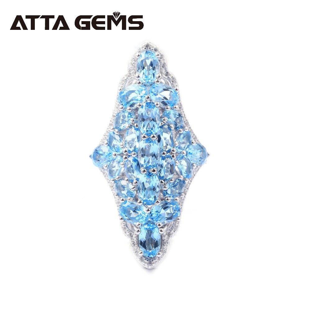 Природные Голубой топаз стерлингового Серебряные кольца для Для женщин обручальное 20 карат натуральный голубой топаз столкнулись с специа