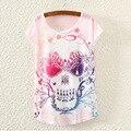 Hot! New Fashion Skull Emoji Totoro Printed Tee Tops Women T Shirt Batwing Short Sleeve 2016 Summer T-Shirt Women Clothing S1765
