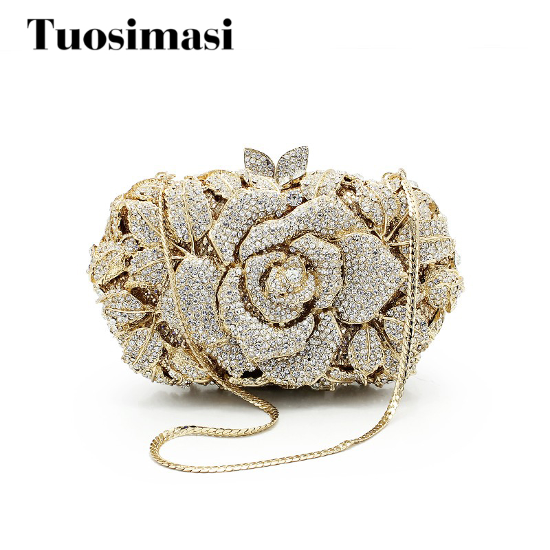 Flower pattern fashion top selling women clutch bags wedding party gold crystal evening bag clutch purse bag (88170A-G)