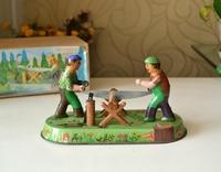 Clockwork classic retro tin toys Rare Clockwork loggers Sawing wood Collection