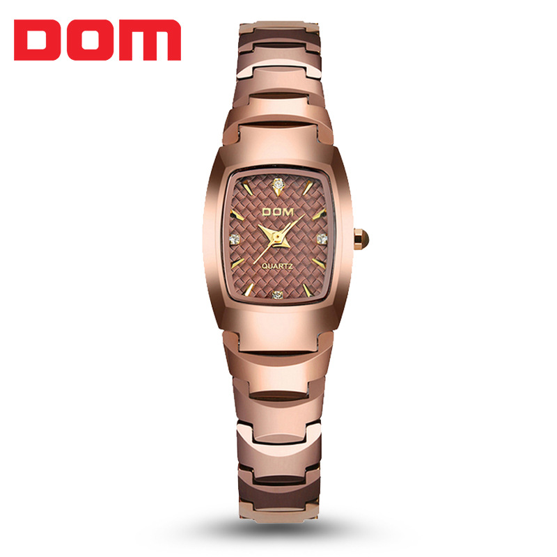DOM luxury brand tungsten steel watch ladies rose gold bracelet quartz watch elegant thin women fashion casual dress watch 2018 цена