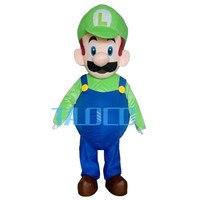 Горячая Супер Марио характер Луиджи костюм талисмана Необычные платья Бесплатная доставка для взрослых