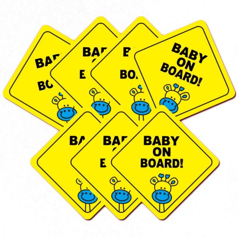 "Baby On Board Pram Cartoon Warning Sign Car Bumper Sticker Decal 5/"" x 5/"""