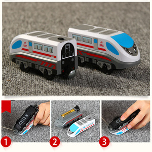 Image 5 - ילדים חשמלי רכבת צעצועי מגנטי חריץ Diecast חשמלי רכבת עם שני קרונות רכבת עץ צעצוע FIT T hmas עץ חיוניות מסלולים