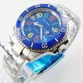 Мужские часы с синим циферблатом Bliger  40 мм  голубой керамический безель с цветными марками
