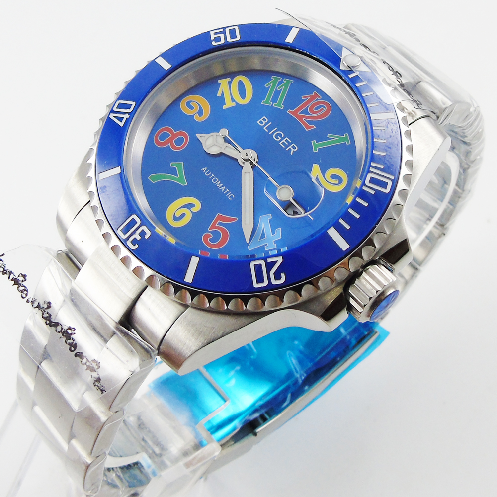Bliger 40mm blue dial date blue Ceramics Bezel colorful marks saphire glass Automatic movement Men's watch bliger 40mm gray dial date blue ceramics bezel stainless steel case saphire glass automatic movement men s watch