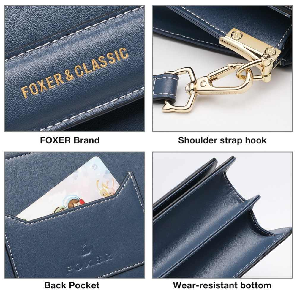 FOXER Brand 2019 New Design Leather shoulder strap Lady Luxury Shoulder Bags Office Women Stylish Crossbody Bags Female Flap