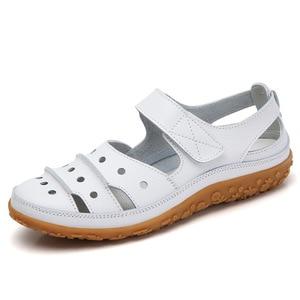 Image 5 - Sandalias de mujer 2019, novedad de verano, zapatos de cuero hechos a mano para mujer, sandalias de cuero, Sandalias planas para mujer, zapatos de Madre de estilo Retro