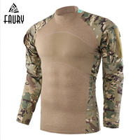 High Quality 2018 New Tactical Military Camouflage Combat Shirt Men Long Sleeve Three Generations Frog Tops Multicam Uniform 2XL