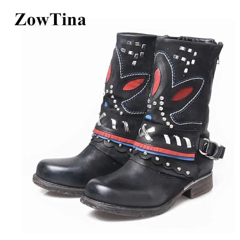 00bcd2b3d34f Automne Véritable Femmes Brun Femme 42 Bottes D hiver Noir Nouvelles Chaussures  Militaire marron Botas En Cuir Taille ...