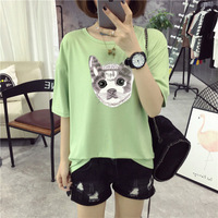 Fashion Women T Shirt Pocket cat Top Tee casual Short sleeve L091