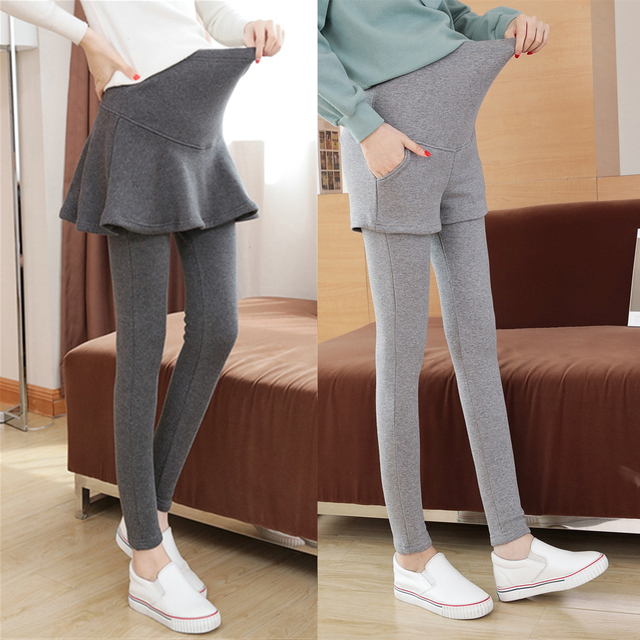 03a149d756b32 Fake Two Pieces Belly Skinny Maternity Legging Elastic Cotton Adjustable  Waist Pencil Pregnancy Pants Clothes for Pregnant C441