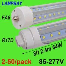 2-50/pack V Shaped LED Tube Lights 8ft 2.4m 48W 64W FA8 Single pin R17D HO F96 T8T10T12 Bulb Super Bright Fluorescent Lamp