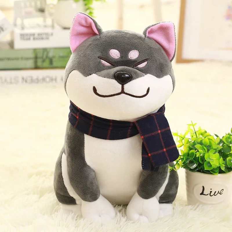 new plush gray Akita dog toy lovely cute fat sitting Akita dog doll gift about 45cm super cute plush toy dog doll as a christmas gift for children s home decoration 20