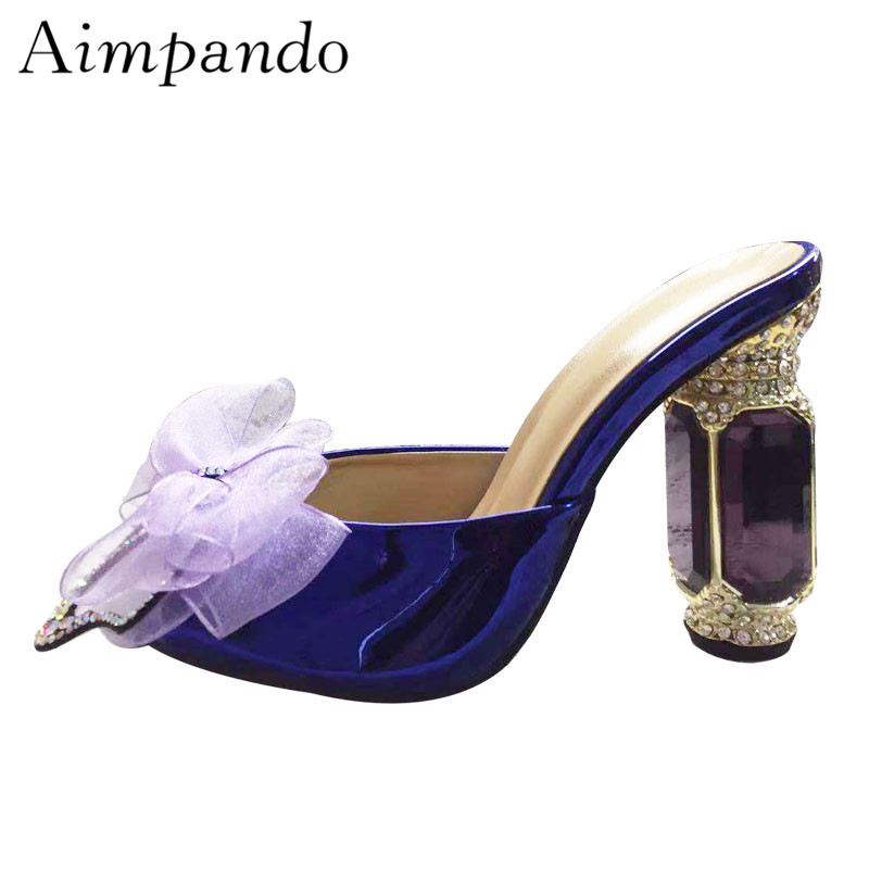Fairy Jewelled Diamond High Heel Slippers Open Toe Lace Butterfly knot Shallow Mules Rhinestone Dating Shoes