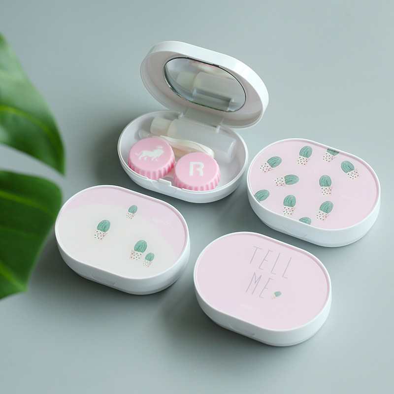 100% True Oval Cactus Contact Lens Case With Mirror Women Companion Box Eyes Cartoon Portable Lovely Travel Kit Box Hot Sale Men's Glasses