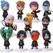 New Hot Fashion 11pcs/set Children Dolls Japanese Anime Naruto Akatsuki 2.6 Figure Toys Model Year Birthday Gifts For Kids