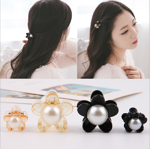 New Lovely Plum Flowers Pearl Small Side Black Hair Clip Girls Hair Claws Hairpins Cute Headbands For Womens Hair Accessories 12 colors cute girls hairpins children elsa side knotted clip hairpin hair clip small size hair accessories