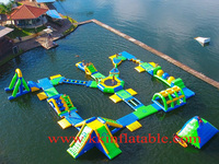 Europe market 35x35m 100 people capacity inflatable aqua park water toys with ISO certificate